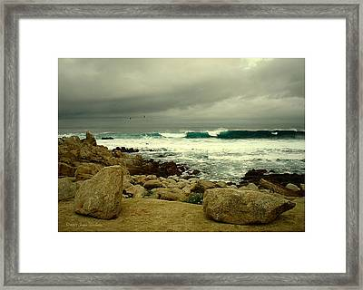 Framed Print featuring the photograph A Winter Day At The Beach by Joyce Dickens