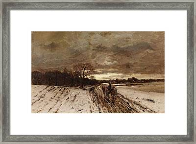 A Winter Landscape With A Horse And Cart At Dusk Framed Print by MotionAge Designs