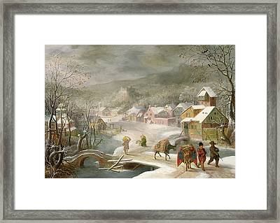 A Winter Landscape With Travellers On A Path Framed Print by Denys van Alsloot