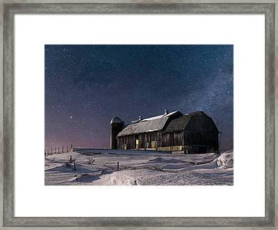 A Winter Night On The Farm Framed Print by Judy Johnson