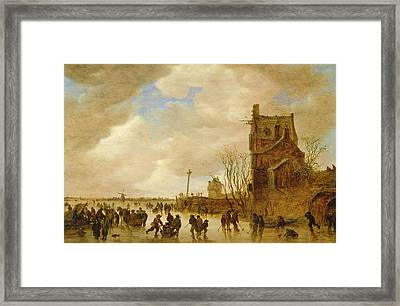A Winter Skating Scene Framed Print by Jan Josephsz van Goyen
