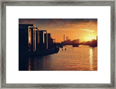 A Winter Sunset From Knippelsbro Bridge In Copenhagen  Framed Print by Carol Japp