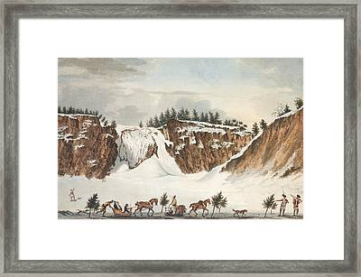 A Winter View Of The Falls Of Montmorenci Framed Print by John Wells