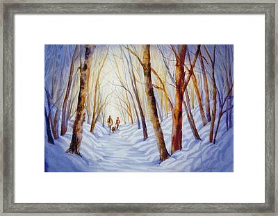A-winter-walk Framed Print by Nancy Newman