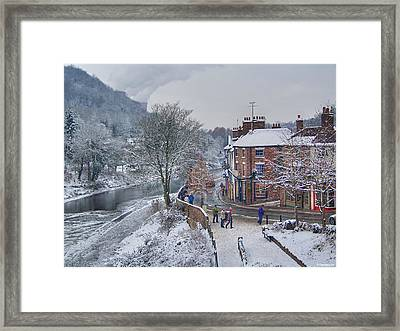 A Wintry Street Scene In Ironbridge Gorge England Framed Print