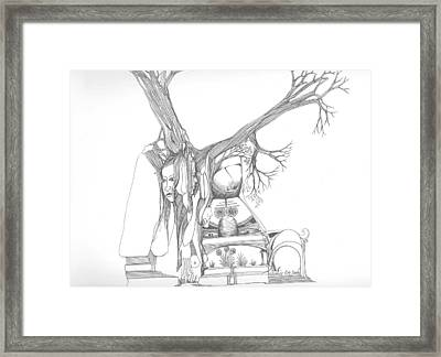 A Woman A Temple A Tree And Some Rocks Framed Print by Padamvir Singh