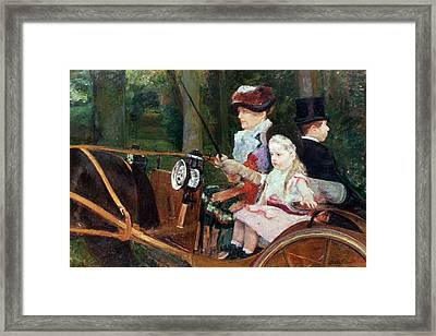 A Woman And Child In The Driving Seat Framed Print