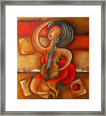 A Woman And Her Violin Framed Print by Marta Giraldo