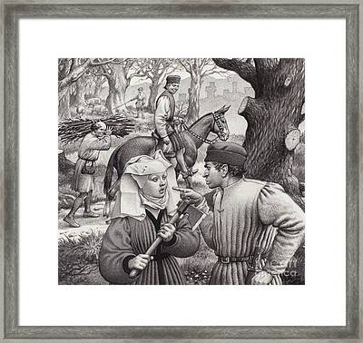 A Woman Finds Herself In Trouble When She Chops Down The Branch Of A Tree Framed Print by Pat Nicolle