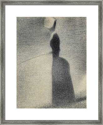 A Woman Fishing Framed Print
