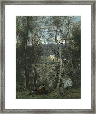 A Woman Gathering Faggots At Ville-d'avray Framed Print by Jean-Baptiste-Camille Corot