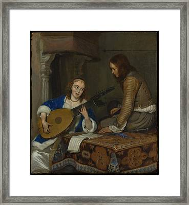 A Woman Playing The Theorbo-lute And A Cavalier Framed Print by Gerard ter Borch the Younger