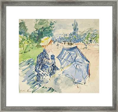 A Woman Seated At A Bench On The Avenue Du Bois Framed Print by Berthe Morisot