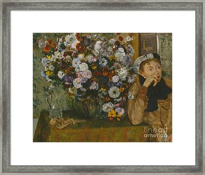 A Woman Seated Beside A Vase Of Flowers, 1865 Framed Print