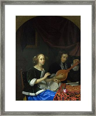 A Woman Singing And A Man With A Cittern Framed Print
