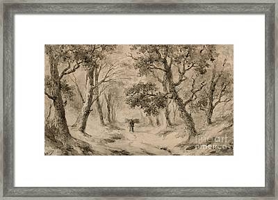 A Wood Gatherer In The Forest Framed Print