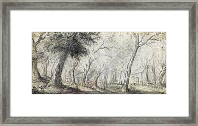 A Wooded Landscape And A River Scene Framed Print by MotionAge Designs