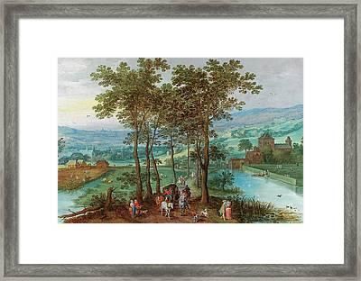 A Wooded Landscape Framed Print by Joos de Momper
