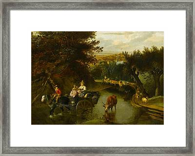 A Wooded Landscape With Peasants Framed Print by Jan Siberechts