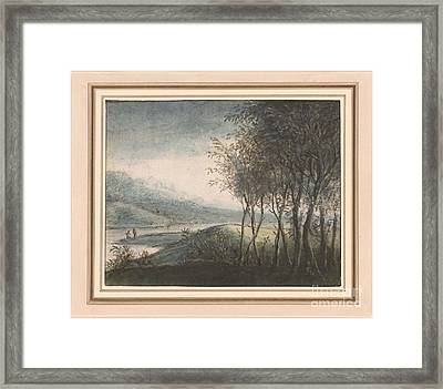 A Wooded River Landscape With Distant Mountains Framed Print by Celestial Images