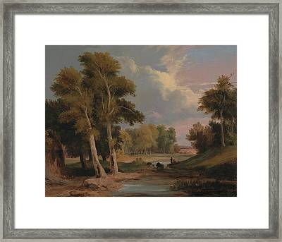 A Wooded River Landscape With Fishermen Framed Print by James Arthur O'Connor