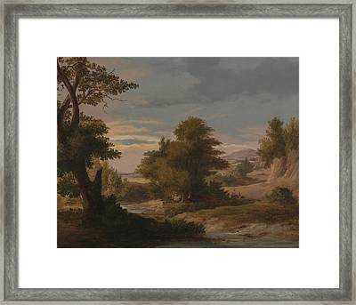 A Wooded River Landscape With Mother And Child Framed Print by James Arthur O'Connor
