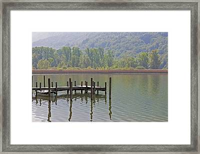 A Wooden Pier At A Small Lake Framed Print