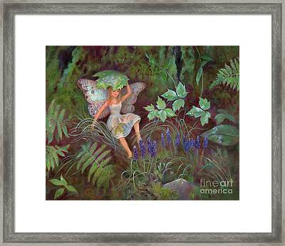 A Woodland Fairy Named Solace Framed Print by Nancy Lee Moran