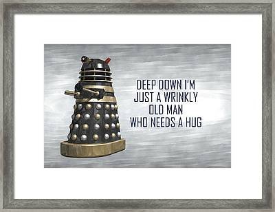 A Wrinkly Old Man Who Just Needs A Hug Framed Print