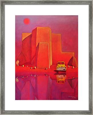 A Yellow Truck With A Red Moon In Ranchos Framed Print