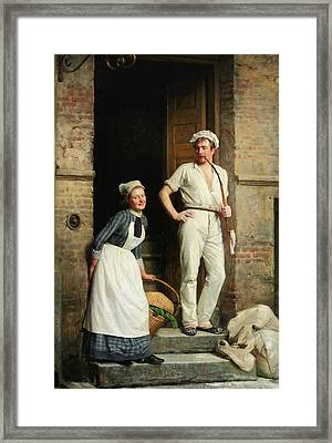 A Young Baker Cooling Down Framed Print by Carl Bloch