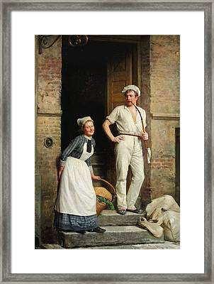 A Young Baker Cooling Down Framed Print by Carl Heinrich Bloch