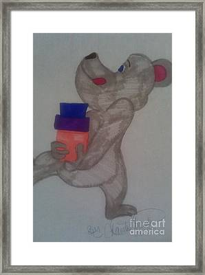 A Young Bear Carry The Presents Framed Print