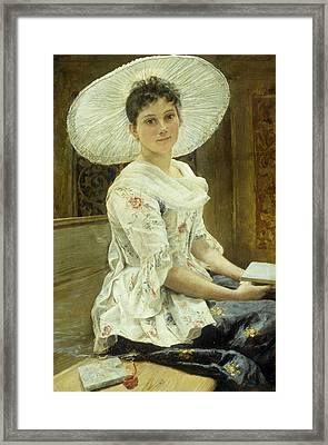 A Young Beauty In A White Hat  Framed Print by Franz Xaver Simm