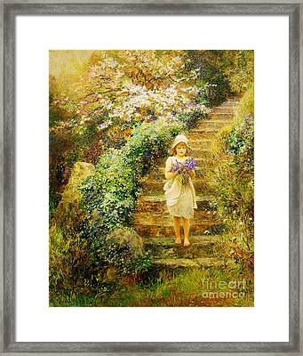 A Young Girl Carrying Violets Framed Print by Celestial Images