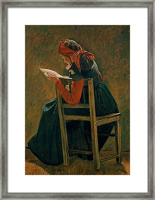 A Young Girl From Salling Reading. Study Framed Print