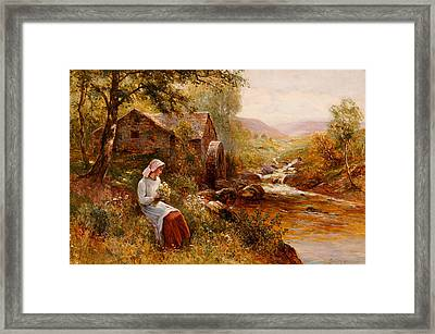 A Young Girl Picking Spring Flowers Framed Print