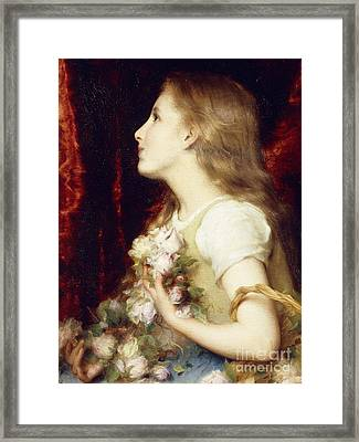 A Young Girl With A Basket Of Flowers Framed Print