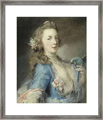 A Young Lady With A Parrot Framed Print by Rosalba Giovanna Carriera