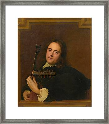 A Young Man At A Stone Window Playing A Theorbo-lute Framed Print by Jacob van Oost the Elder