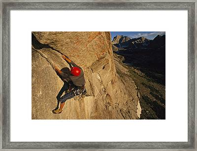 A Young Man Climbing The North Tower Framed Print by Bobby Model