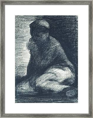A Young Man Crouching Framed Print