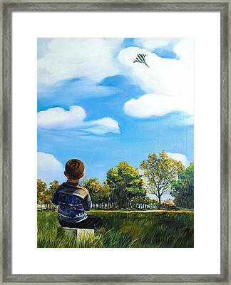 A Young Man Fancy Framed Print by Min Wang
