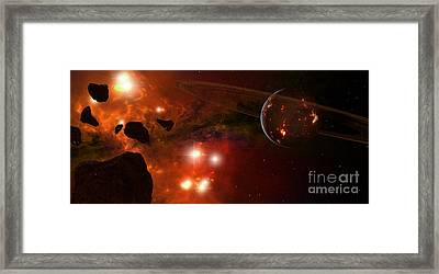 A Young Ringed Planet With Glowing Lava Framed Print by Frieso Hoevelkamp