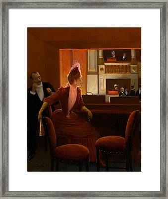A Young Woman At The Opera Framed Print by Jean Beraud