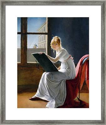 A Young Woman Drawing  Framed Print