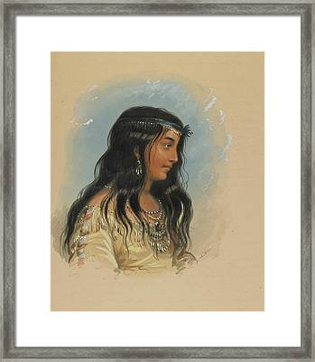 A Young Woman Of The Flat Head Tribe Framed Print