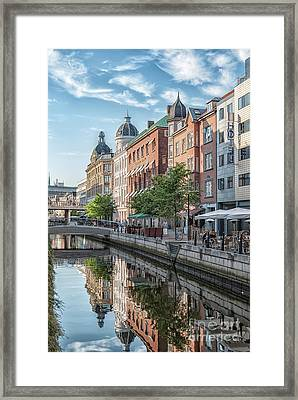Framed Print featuring the photograph Aarhus Afternoon Canal Scene by Antony McAulay