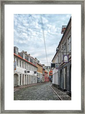 Framed Print featuring the photograph Aarhus Backstreet Scene by Antony McAulay