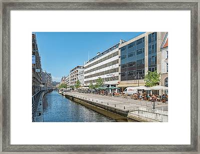 Framed Print featuring the photograph Aarhus Canal Activity by Antony McAulay